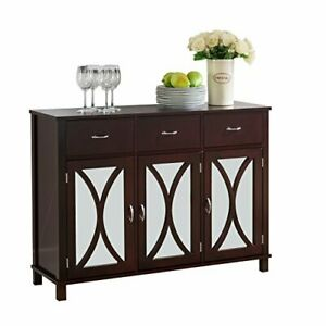Espresso Wood Sideboard Buffet Server Console Table with Storage Drawers & Mi...