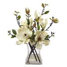 "Artificial 15"" Magnolia Silk Flowers Floral Arrangement in Faux Water Glass Vase"