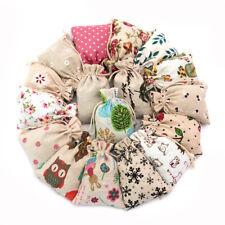 50Pc Xmas Printed Cotton Linen Handmade Drawstring Tote Wedding Gift Jewelry Bag