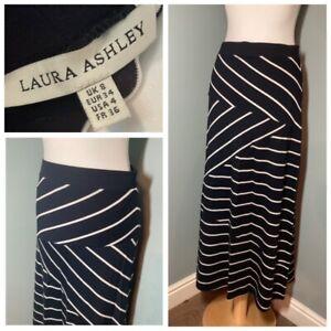 Navy White Stripe Midi Skirt Laura Ashley Size 8 10 Stretch Fit A-Line Summer