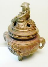 Jennings Bros~J.B. #1888 Art Deco Art Bronze Fu Dog Incense Burner-Handles AS-IS