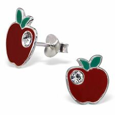 Childrens Kids Girls 925 Silver Apple Ear Studs with Crystal-Free Gift Box