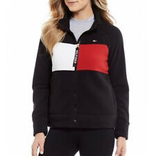 New TOMMY HILFIGER Black Colourblock Logo Fleece Jacket Women's Size Small