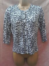 grey black silver animal print cardigan top size 10 party holiday