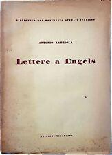 Labriola LETTERE A ENGELS Biblioteca movimento operaio RINASCITA 1949 intonso