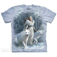 Winter Guardians T-Shirt by The Mountain. Fantasy Wolf Wolves Angel Sizes S-5X