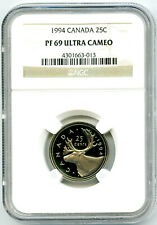 1994 CANADA 25 CENT NGC PF69 ULTRA CAMEO QUARTER PROOF POP ONLY 10 KNOWN