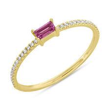 14K Oro Amarillo Zafiro Rosa y Diamante Anillo de Cóctel Mano Anillo Moda