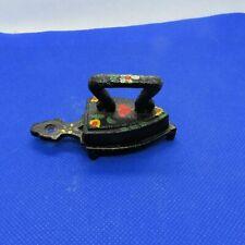 Vintage Painted Miniature Cast Iron Trivet and Sad Iron (c6)
