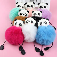 Lovely Faux Fur Panda Keychain Keyholder Fluffy Handbag Pendant Car Key Ring