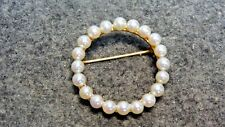 Cultured Pearl Circle 14k Yellow Gold Pin