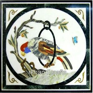 15 Inches White Marble Coffee Table Top Inlay Art Corner table with Bird Design
