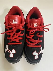 UNDER ARMOUR BASEBALL CLEATS KIDS 13K ARMOUR BOUND BLK/RED *AUTHENTIC MLB*