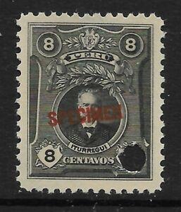 STAMPS-PERU. 1924. 8c Black. ABNCo Specimen. 11mm. SG: 433a var. MNH