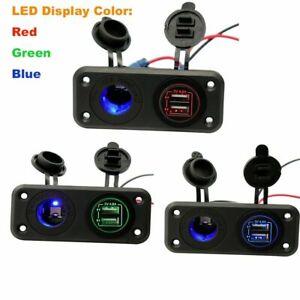 4.8A Dual USB Charger Power Socket +LED Light+ 2 Hole Panel Car RV Boat Marine
