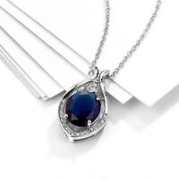 18K White Gold Plated Blue Topaz and Created White Sapphire Necklace