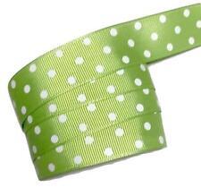 "3 yards Lime green polka dot print 7/8"" grosgrain ribbon by the yard DIY"