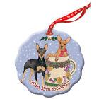 Miniature Pincher Min Pin Dog Holiday Porcelain Christmas Tree Ornament