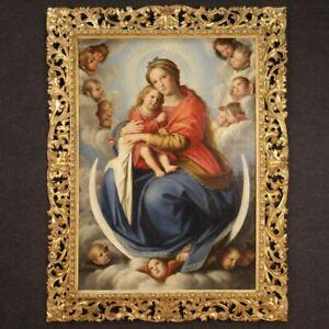 Antico quadro Madonna con bambino angeli dipinto ad olio su tela 800 XIX secolo