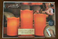 Apothecary & Company Pumpkin Spice 3pc Flameless LED Candle Lights Remote Set