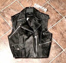 Clean Lines Faux Leather Motorcycle Style Goth Vest Biker Chic Street Wear Vest