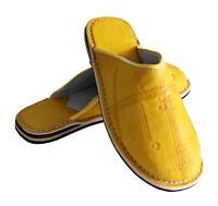 Oriental Marocchino Scarpe di Cuoio Vera Pelle Pantofola Giallo 44 45 46