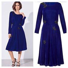 Kaliko Designer Sz 12 Blue Velvet Beaded Special Occasion DRESS Wedding £145