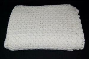 Vintage Hand Made Crocheted Afghan Throw Granny Blanket White Ivory