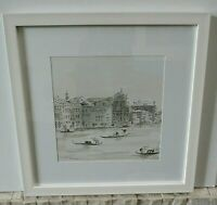 Original Mandy Racine Modern Venice Canal Watercolor Painting Signed & Framed