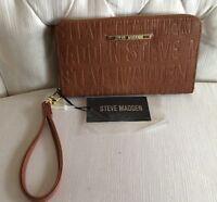 STEVE MADDEN WALLET Cognac Stamped Logo Zip Around Organizer Wristlet SHIPS FREE
