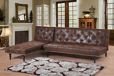 L Shaped Corner Brown Sofa Bed Chaise Longue Set Vintage Victorian 3/4 Seater