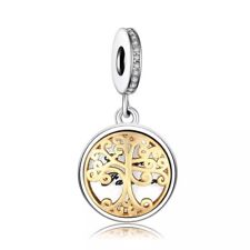 Family Gold Tree Heritage Pendant Dangle Photo Charm Genuine 925 Sterling Silver