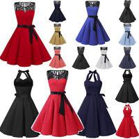 Hot Women Sleeveless Solid Hepburn Vintage Swing High-Waist Pleated Party Dress