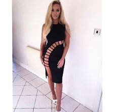 Black Cut Out Bodycon Dress Endless Fashion Midi fitted sleeveless SMALL