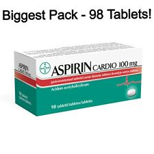 BIGGEST PACK - Asprin Cardio 100 mg - Genuine Bayer Product - 98 Tablets