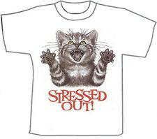Funny T-Shirts...Stressed Out ..Cat. White Cotton (M)