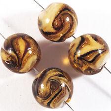Lot 4 Perles Rondes en Verre de Murano Lampwork 12mm Marron