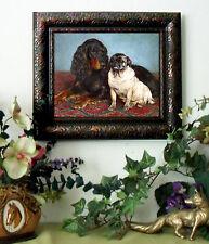Bache PUG n Spaniel Dog Art Print Antique Style Framed Horse 11x13