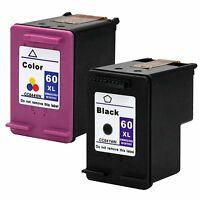2PKs HP 60XL 60 XL Black & Color Ink Cartridges Combo Pack CC641WN CC644WN