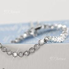 18K WHITE GOLD GF SIMULATED DIAMOND BRIDE WEDDING CHAIN BRACELET SLIM 16.5CM