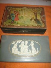 2 Small Very Old Trinket Boxes, 1 is Wood & Other Leather? Covered, Used Conditi