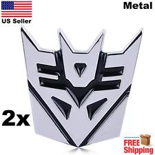 "(2 PACK) 3D METAL Transformers Emblem Autobots Decepticon Car Sticker 3"""