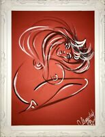 Margarita Bonke Malerei PAINTING erotic EROTIK FRAU WOMEN art Red Nu Akt A3 Rot