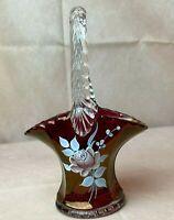 Vtg. 1975 Westmoreland Glass Cranberry Hand Painted Rose Mini Brides Basket Vase