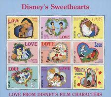 Nevis Disney Sweethearts Mowgli Pinocchio Aladdin Snow White Souv. of 9 MNH