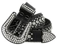 "Rhinestone Western Cowgirl Bling Studded Design Leather Belt 1-1/2""(38mm) Black"