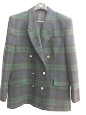 Vintage Burberry Green/Blue Check Wool Jacket and Skirt Outfit Size 16