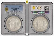 1873 Belgium 5 Francs PCGS MS61 Position A