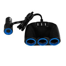 3 way Cigarette Lighter Socket Splitter 12V Dual USB Charger Power Adapter Car