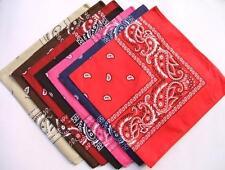 Set Of 12 Paisley Bandana's, 12 Colours (Black, White, Red, Yell...) 100% Cotton